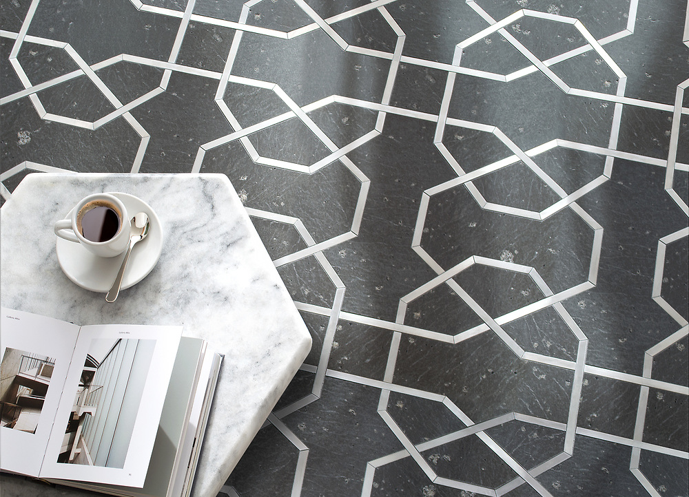 Collins, a waterjet stone mosaic, shown in brushed Basalto and Aluminum.